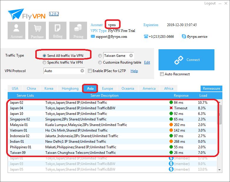 Southeast Asia VPN Servers in FlyVPN Trial Account vpnu