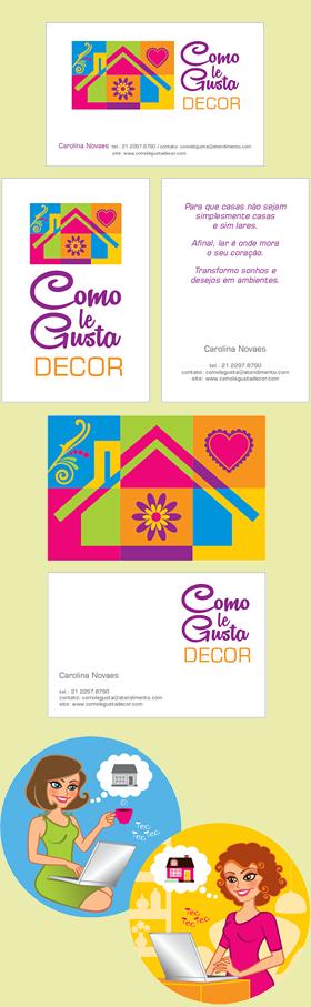 Criação de Logomarca, cartões de visita e ilustração para COMO LE GUSTA DECOR