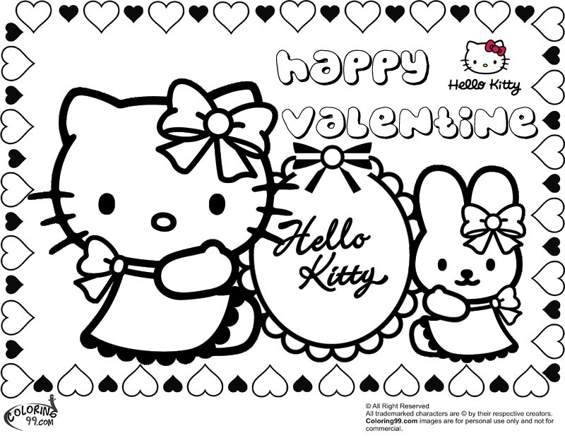 hello kitty coloring pages for valentines day title - Free Valentine Coloring Pages