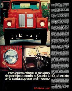 propaganda caminhão Scania L 110 - 1974. brazilian advertising cars in the 70. os anos 70. história da década de 70; Brazil in the 70s; propaganda carros anos 70; Oswaldo Hernandez;