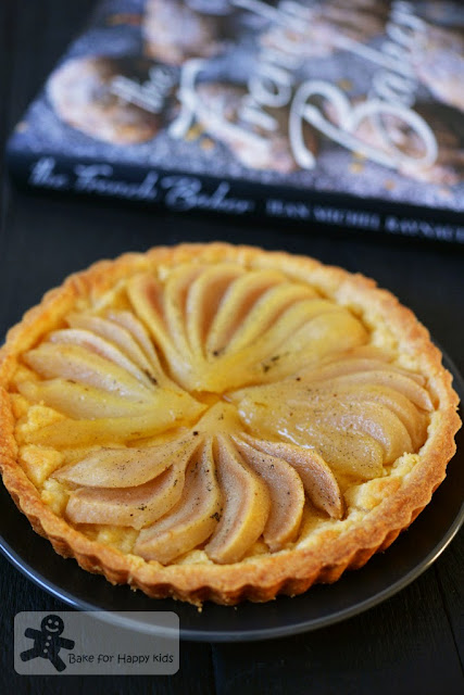 pear almond cream tart with pear liqueur