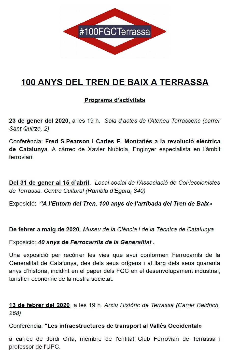"""100 Anys del """"Tren de Baix"""" a Terrassa. Programa Part 1A"""