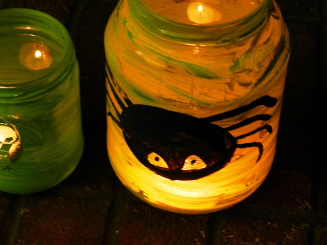 Painted Halloween Jar Lanterns