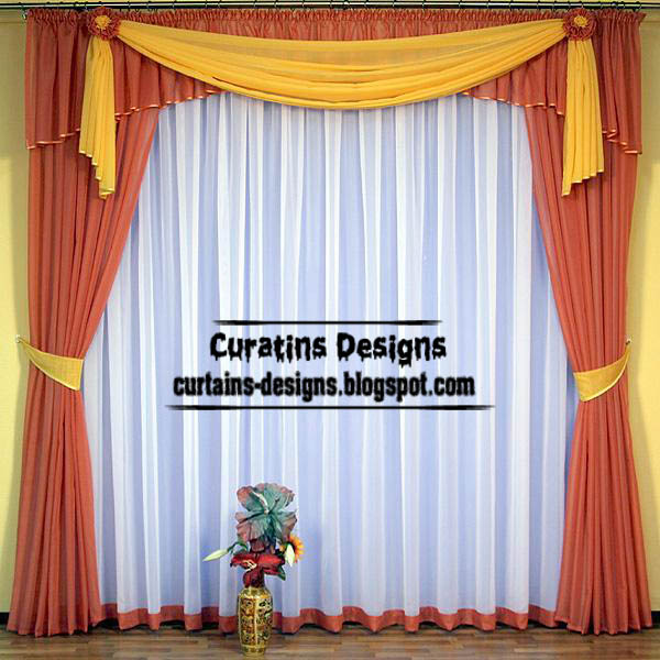 Modern orange curtain, Turkish curtain designs for living room, yellow scarf
