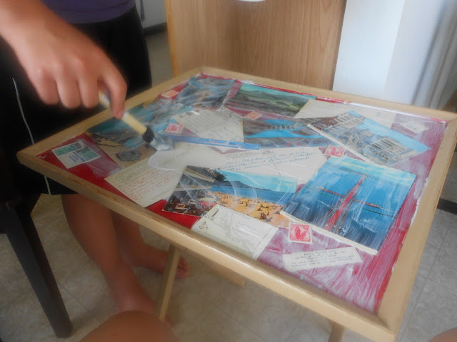 Vintage Postcard Table in process