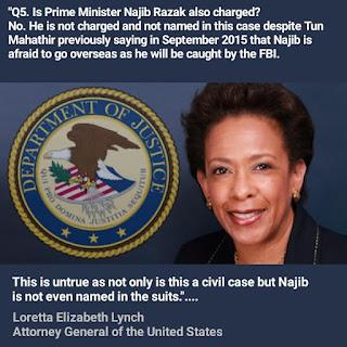Saman sivil Jabatan Kehakiman AS tidak namakan Perdana Menteri sebagai defendan