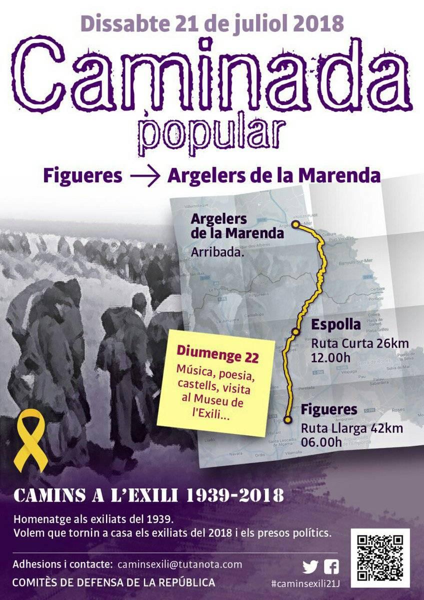 Reivindicativa caminada popular entre Figueres i Argelers de la Marenda el dissabte 21 de juliol