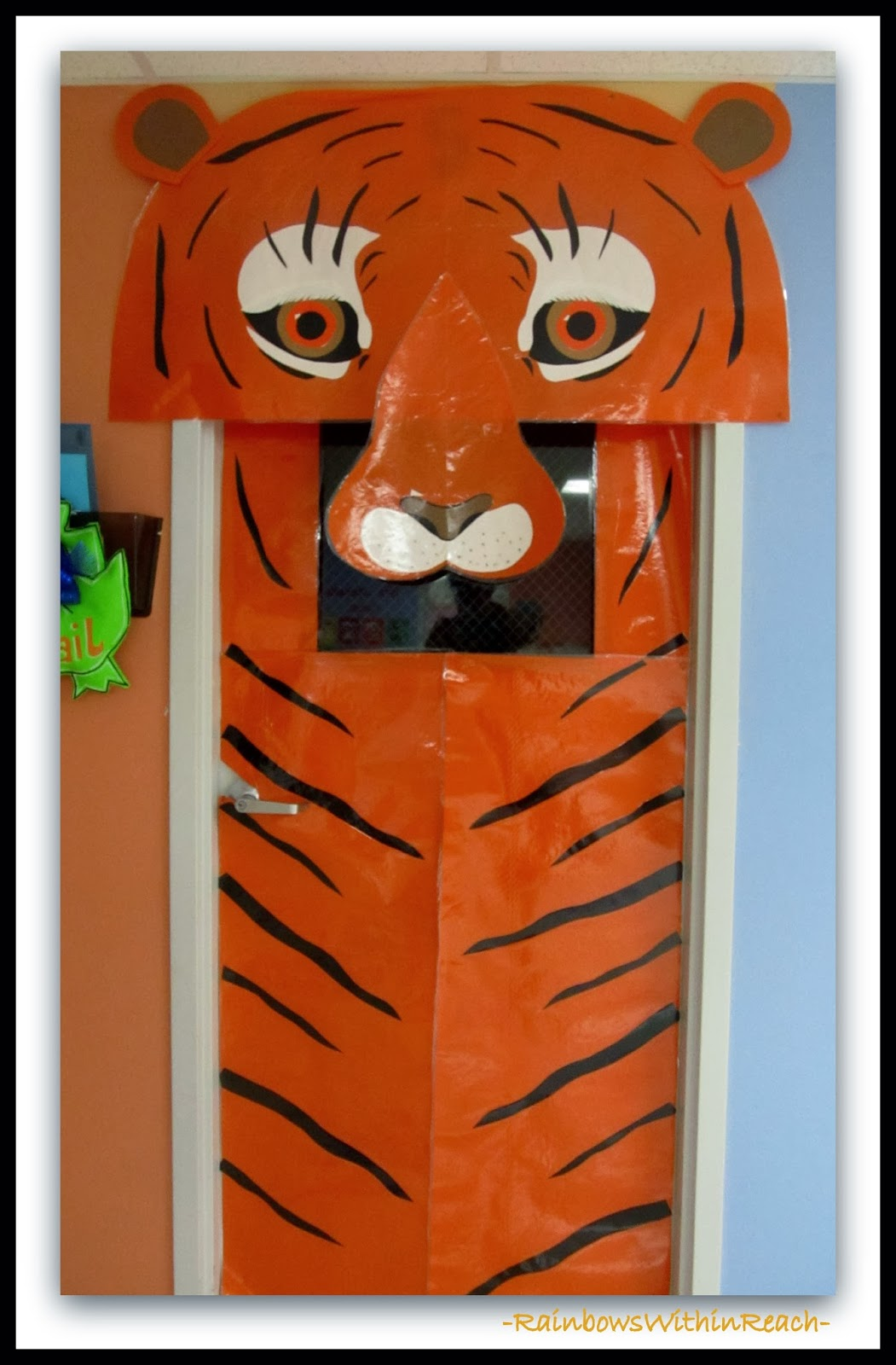Decorated Classroom Door with Tiger Theme via RainbowsWithinReach