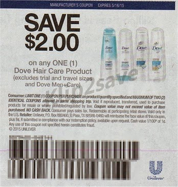 Coupon dove 2$