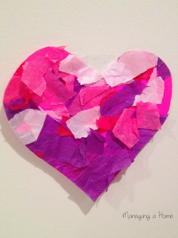 Tissue Paper Valentine Heart Craft - done by a Toddler. Modifications for all ages of kids | Managing a Home