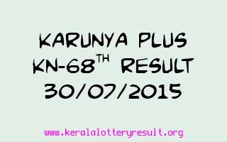 Karunya Plus KN 68 Lottery Result 30-7-2015