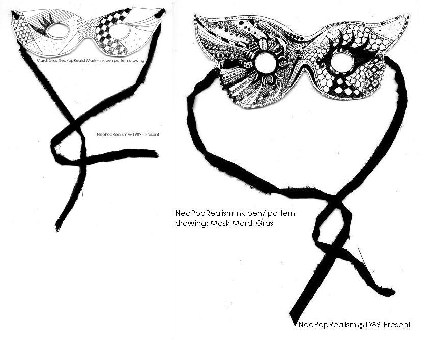mardi gras neopoprealist mask with ink pen pattern drawing inspired