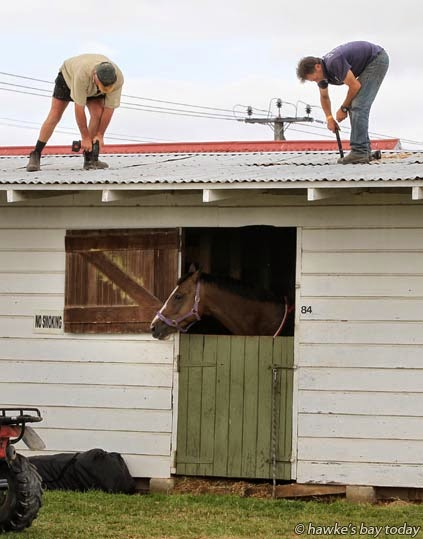 L-R: Peter Sandford, Pete Hill, screwing down roof iron, battening down the hatches at Horse of the Year, Hawke's Bay Showgrounds, Hastings, with the threat of Cyclone Pam blowing through tonight. photograph