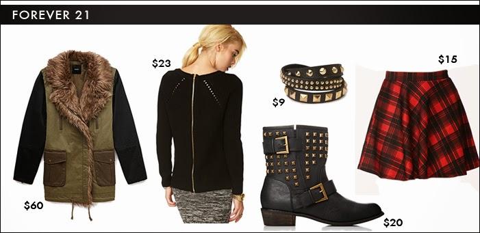 forever 21, fur trimmed coat, zip sweater, grunge, studded boots, studded bracelet