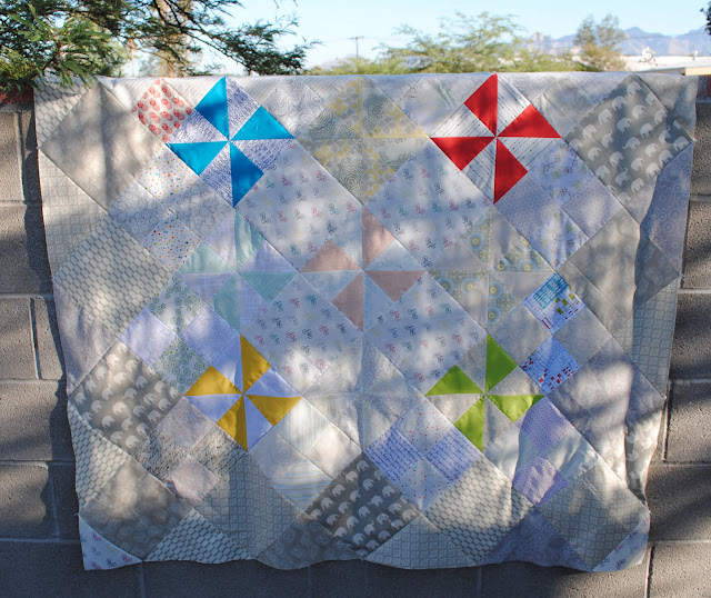 low volume pinwheel quilt top