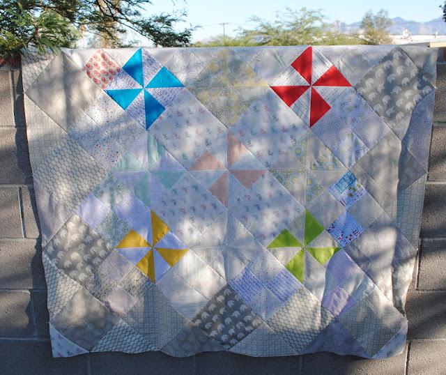 low volume pinwheel quilt top