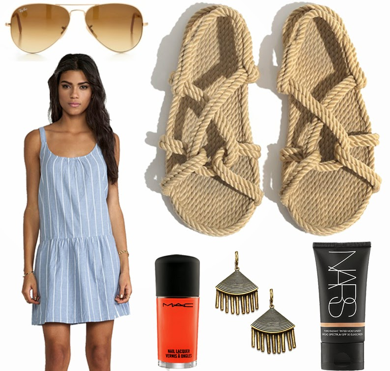 Joie summer dress, Totême rope sandals, Giles and Brother earrings, MAC Cosmetics nail polish in Morange, NARS Cosmetics tinted moisturizer, Ray-Ban aviators