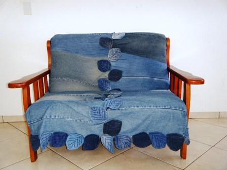 Fuxicrocheteria Sofa Com Capa Jeans