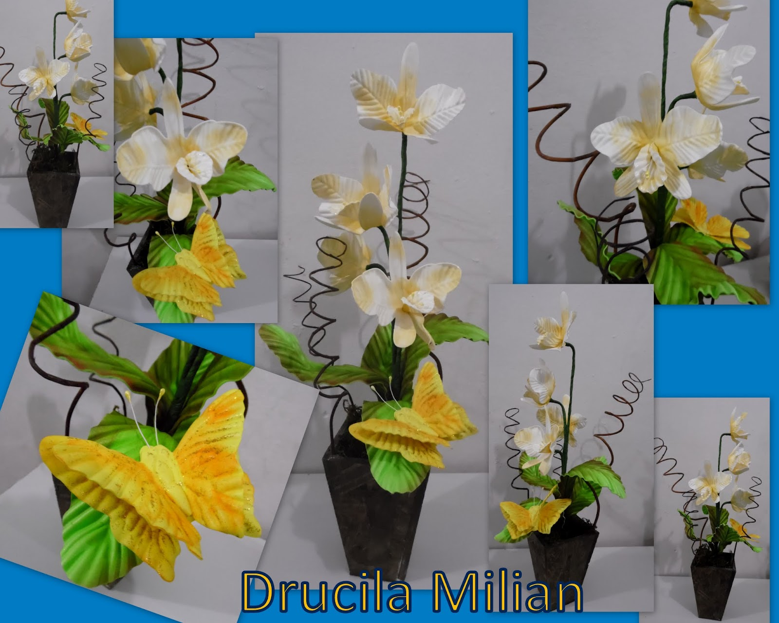 arteirices da dru orquídea em eva com borboleta amarela