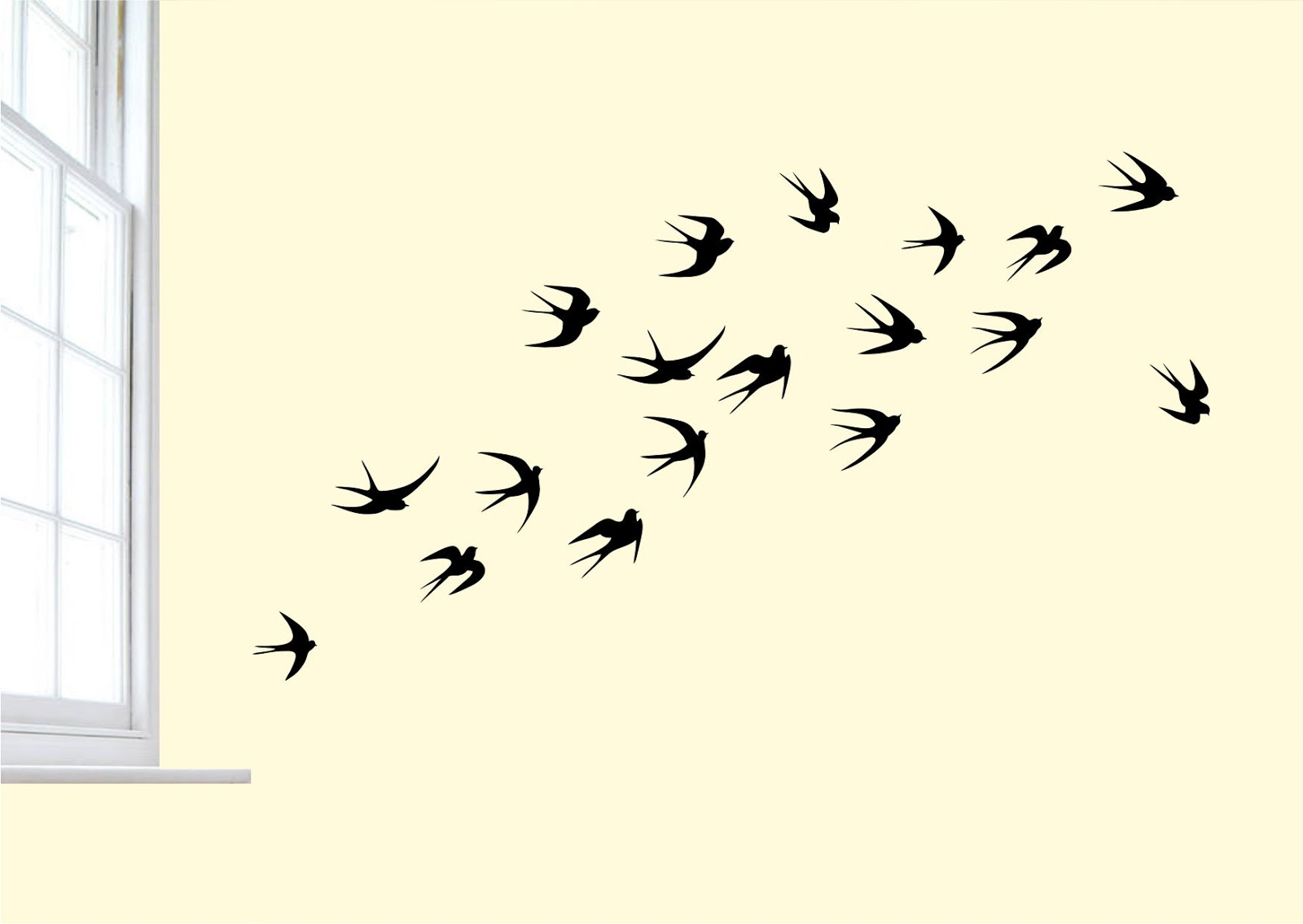 Birds flying tattoo template
