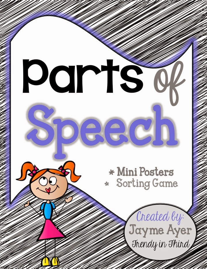 http://www.teacherspayteachers.com/Product/Parts-of-Speech-Mini-Posters-Sorting-Game-379176