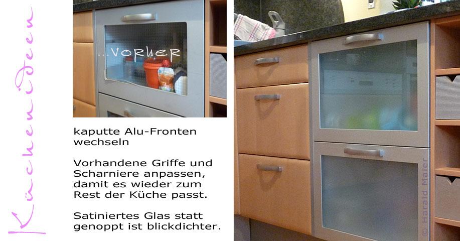 Wir renovieren Ihre Küche : Kueche mit Alu-Glas Fronten renovieren