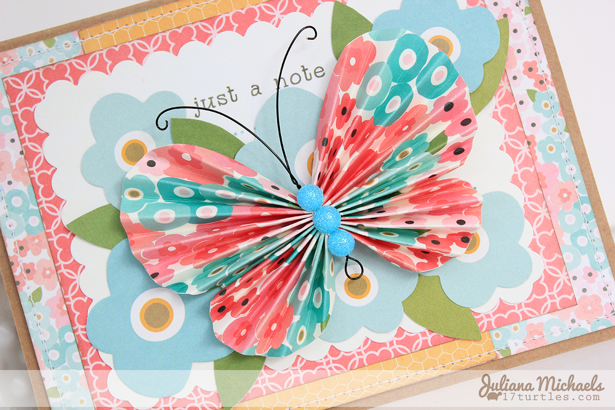 Just A Note Butterfly Card Pebbles Inc Garden Party Collection by Juliana Michaels