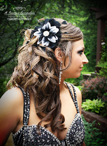 feather fascinator prom hair updo