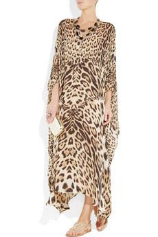 Leopard-print silk-chiffon kaftan