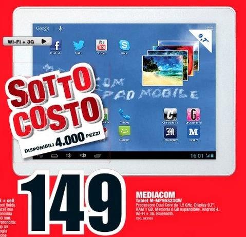 Sottocosto Mediaworld a soli 149 euro il tablet 3G SmartPad 950 S2 di Mediacom con un risparmio di almeno 50 euro