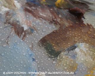 Plein air oil painting in the rain. Palette.