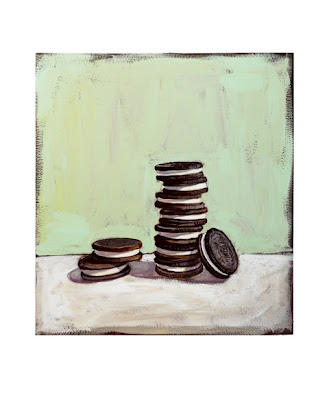 painting of a stack of double stuff oreo cookies by jeanne vadeboncoeur