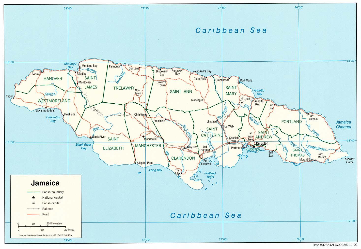 waar ligt jamaica op kaart