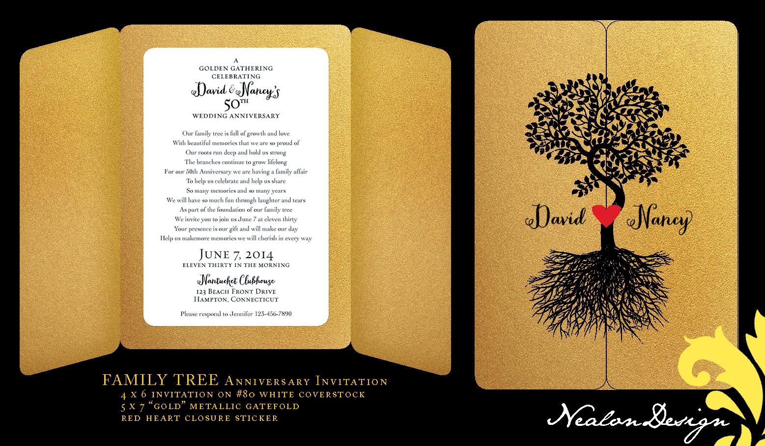 Nealon design family tree anniversary invitation family tree anniversary invitation stopboris Images