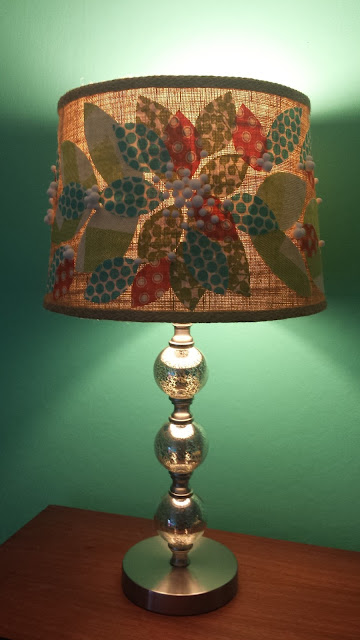 Burlap Lampshade with Fabric Scrap Leaves and Pom Poms!