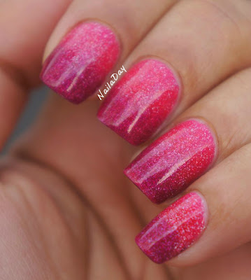 NailaDay: L.A. Girls 3D Effects Dazzling Pink and Sparkle Ruby gradient