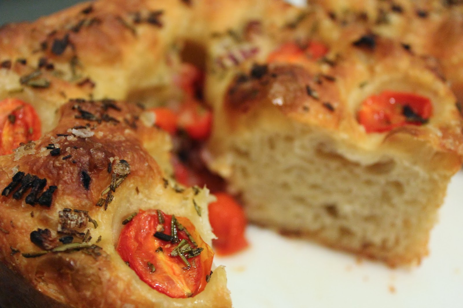 Cherry tomato and red onion focaccia
