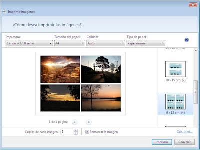 imprimir cuatro imágenes en una sola página