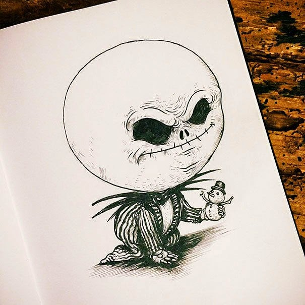 21-Jack-Skellington-Alex-Solis-Baby-Terrors-Drawings-Horror-Movie-Villains-www-designstack-co