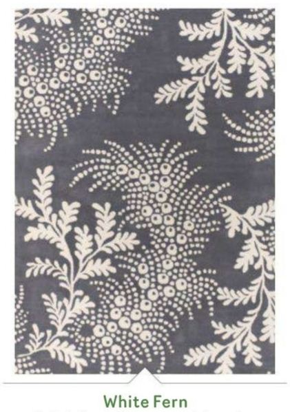 Rug Design 2013 Leafy Pattern White Fern