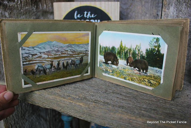reclaimed wood, yellowstone park, postcards, shelf, http://bec4-beyondthepicketfence.blogspot.com/2015/07/project-challenge-reclaimed-wood.html