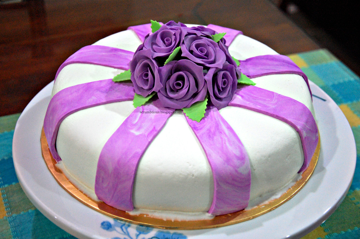 rose flowers fondant cake  scrumbtious
