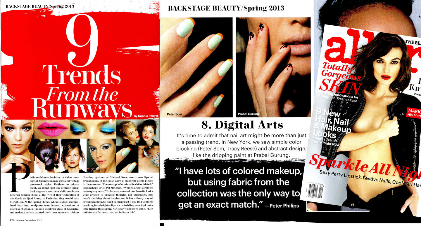 Allure Magazine Features Spring 2013 Nail Trends from NYFW | Zoya ...