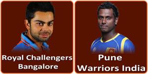 पुणे वॉरियर्स इंडिया बनाम रौयल चैलेंजर्स बैंगलोर 2 मई 2013 को है।