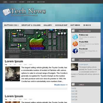 Tech News blogger template. template blogspot free