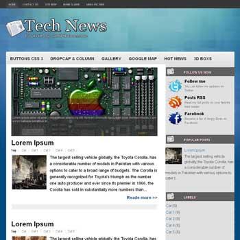 Tech News blogger template. template blogspot free