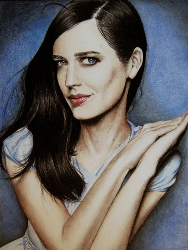 Eva Green Color Pencil Drawing By Valentina Zou