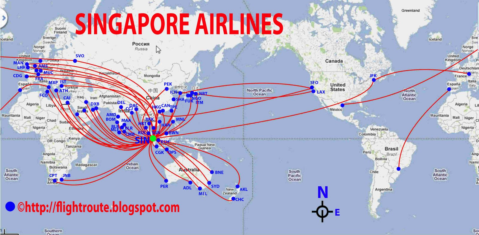 routes map: Singapore Routes Map