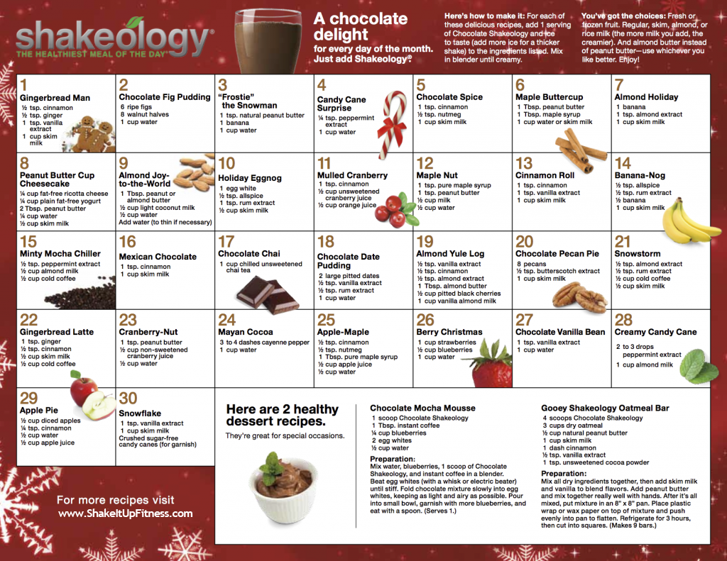 Holiday Chocolate Shakeology Recipes
