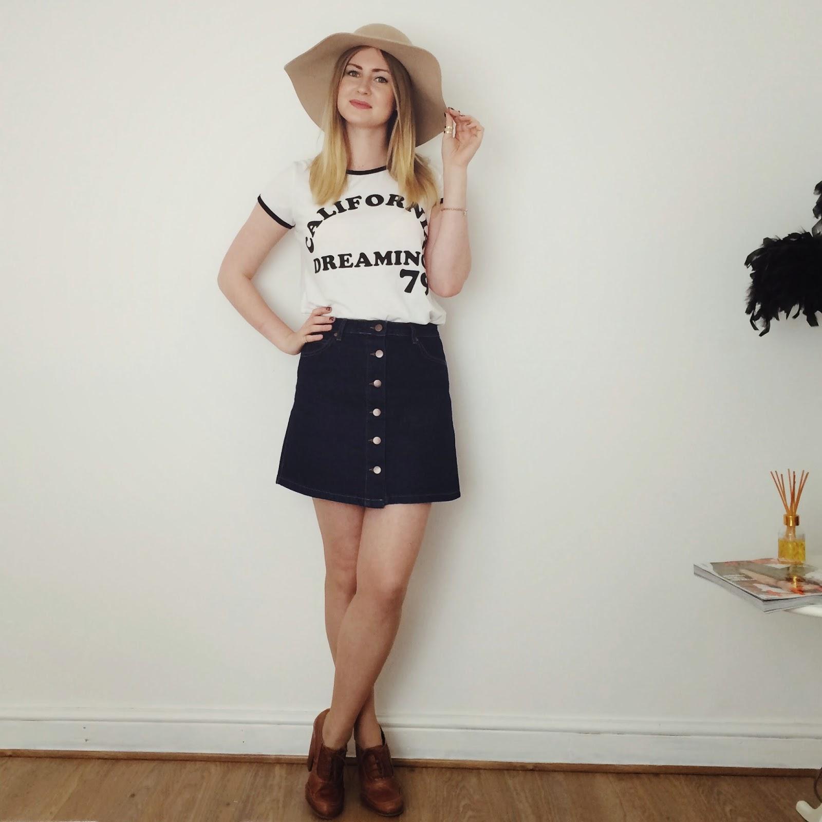 FashionFake, fashion bloggers, UK fashion blog, denim A line skirt